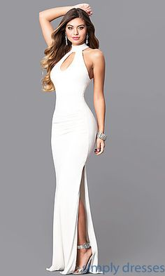 Shop affordable long ivory white prom dresses at Simply Dresses. Cheap junior formal dresses under $200 with front keyholes and cut-out backs.