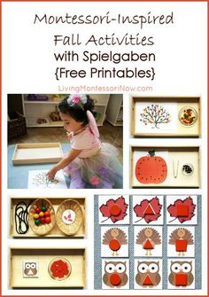 Check out these ideas for preschool fall activities that are easy to prepare, focus on the fall season, and work on a variety of skills. Montessori-inspired activities using Spielgaben educational toys and free printables; post includes the Montessori Monday permanent collection.