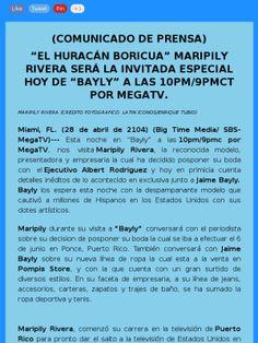 #PressRelease @Maripily Rivera llega esta noche a @baylytv con exclusiva @albertarod64 @megatvlive http://mad.ly/f0f4c4?o=tm via @bigtimemedia