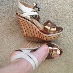 New wedges Wore these inside and they hurt my feet, too small! Sz 8 tts very cute bronze/tan wedges Mossimo Supply Co. Shoes Wedges