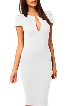 88c0c1da37 made2envy Womens Cap-Sleeve Pencil Dress Midi Length Plunge V Neck Office  Dress with Pockets