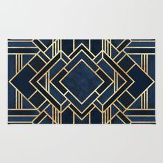 Art Deco Fancy Blue Rug by Elisabeth Fredriksson. Worldwide shipping available at Society6.com. Just one of millions of high quality products available.
