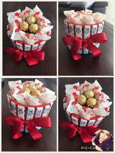 Kinder-Ferrero-Raffaello Basteltorte DIY – Birthday Presents Bouquet Cadeau, Gift Bouquet, Candy Bouquet, Birthday Diy, Birthday Gifts, Birthday Celebration, Chocolate Bouquet Diy, Valentine Box, Candy Gifts