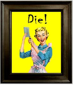 50's Housewife Humor Art Print 8 x 10 - Retro Housewife with Butcher Knife Gone Mad - Horror Parody - Die!