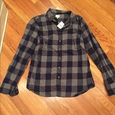 NWT! J.Crew Factory Flannel Grey and Navy J.Crew Factory flannel. Price is firm. J. Crew Tops