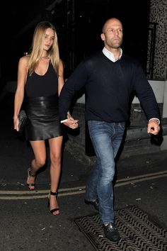 Rosie Huntington Whiteley and Jason Statham - All black and leather skirt - Outfit ideas and street style inspiration - #fashion #outfits #rosiehw