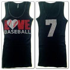 Love Baseball Mom Rhinestone Tank Top with Custom Jersey Number