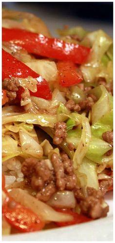 Hamburger Recipes, Ground Beef Recipes, Veggie Recipes, Asian Recipes, Dinner Recipes, Cooking Recipes, Healthy Recipes, Dinner Ideas, Fried Cabbage Recipes