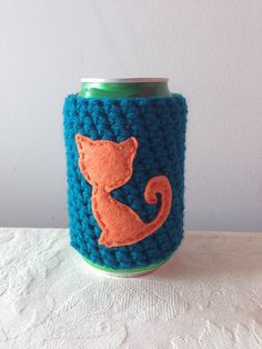Orange Cat Cozy in Teal for a Cat Lover Crochet Beer by Maroozi