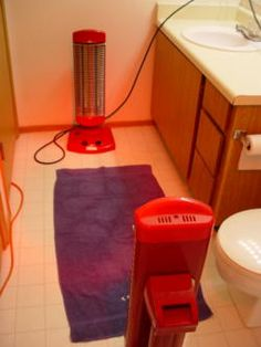 Diy potable hanging sauna 3 4 300 watt lamps with infrared bulbs the bathroom for fir sauna using brooding lights for now but want to save aloadofball Images