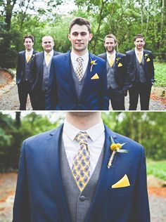 A homemade rustic barn wedding well groomed свадьба Navy Yellow Weddings, Yellow Bridesmaids, Navy Bridesmaid Dresses, Wedding Suits, Wedding Attire, Navy Groomsmen, Grooms Party, Fall Wedding Colors, Navy Suits