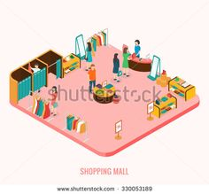 Shopping mall concept. Isometric 3d vector illustrations