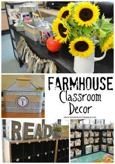 Farmhouse Style Classroom Decor, Fixer Upper Classroom Decor, Burlap and Chalkboard Classroom Decor Ideas.