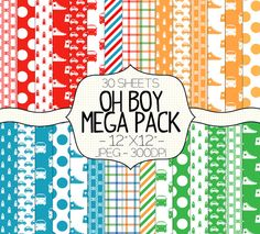 Oh Boy Digital Paper Pack  Patterned Scrapbook by SimplyBrenna, $3.00