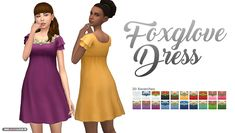 Foxglove Dress - The flower top that came with Jungle Adventure is super cute and I thought it would also make a cute little dress! 💕 [[MORE]]Information: • The Sims 4 • 20 Swatches • Short Dress...