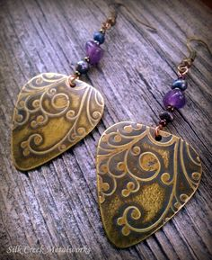 Guitar Pick Earrings in Etched Brass with Amethyst and Pearls