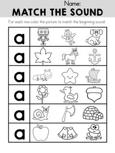 Match the Sound Worksheet for letter A >> Part of the Alphabet Adventures Program >> Download the Letter A Packet for FREE! Alphabet Crafts, Alphabet Worksheets, Alphabet Activities, Kindergarten Worksheets, Literacy Activities, Literacy Centers, Preschool Letters, Learning Letters, Kids Learning