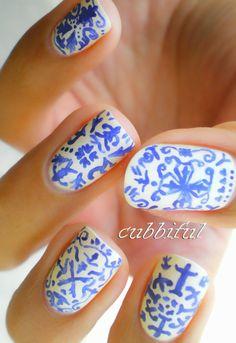 Portugal inspired nails portuguese tile art