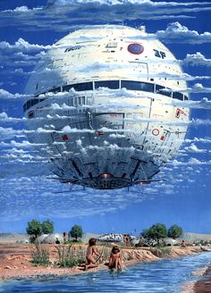 Retro-Futuristic, Science Fiction, Peter Elson (1947)... looks an awful lot like the death star
