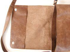Messenger bag Unisex Brown Leather Satchel by abizema, $65.00
