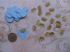 25 Small 1 inch Baby Prince Mickey Mouse Light Blue Head Tiny Gold Crown Shapes Die Cuts 4 crafts Bags Tags DIY Kids Crafts Birthday Party by sandylynnbscrapping on Etsy https://www.etsy.com/listing/225314638/25-small-1-inch-baby-prince-mickey-mouse