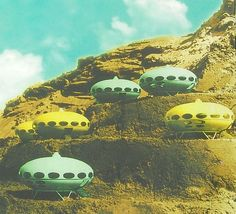 Futuro Houses, by Matti Suuronen, 1968. A bit under a hundred of those houses where actually built in the late 1960s and early 1970s.