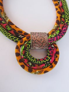 Multicolor Necklace/ African fabric necklace/ Orange by Fabric Necklace, Boho Necklace, Jewelry Necklaces, African Necklace, African Jewelry, Textile Jewelry, Fabric Jewelry, Maxi Collar, Ankara Styles For Men
