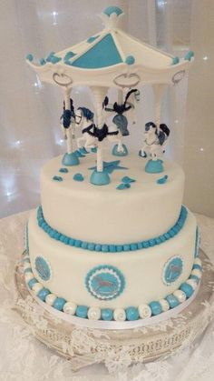 Carousel Christening Cake - Cake by Lisa Wheatcroft