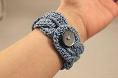Crochet Bracelet Infinity Link Cuff Crochet Jewlery Wide Cuff