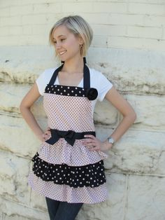 Pink/black polka dot ruffle apron www.etsy.com/shop/overthetopaprons