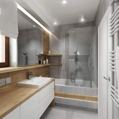 Contempary Designed Bathroom Washroom Design, Bathroom Design Small, Bathroom Interior Design, Bathroom With Shower And Bath, Bathroom Floor Tiles, Küchen Design, House Design, Baths Interior, Narrow Bathroom