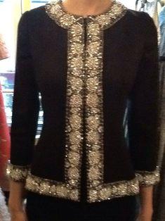 Naeem Khan Crepe Crystal Jacket Classy Business Outfits, Classy Outfits, Naeem Khan, Hijab Fashion, Fashion Dresses, Ladies Coat Design, Indian Designer Outfits, Designer Dresses, Dress Indian Style