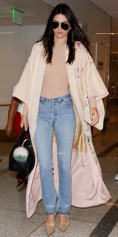 These neutrals are amazing Celebrity-Inspired Outfits to Wear on a Plane - Kendall Jenner - from InStyle.com