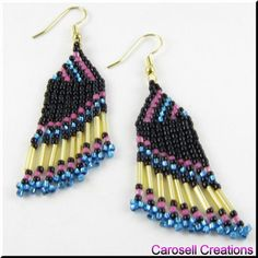 Eventual Slant Seed Beaded Earrings TAGS - Jewelry, Earrings, Dangle, brick stitch, carosell creations, weaved, woven, pink, teal, black, glass, seed beads, pierced, accessories, holiday gift idea, bugle, fringe, handmade, crafted, TLC, gold, petite, off loom, light, beaded, chandelier, women, native american indian, southwestern