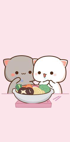 Cute Kawaii Animals, Cute Animal Drawings Kawaii, Cute Cartoon Drawings, Kawaii Cat, Pink Wallpaper Anime, Cute Emoji Wallpaper, Cute Cartoon Wallpapers, Cute Anime Cat, Cute Cat Gif