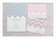Free Chevron Stripe Wedding Invitation set. You pick your colors!