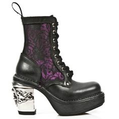 M.8363-C8 New Rock Boots w/ Fuchsia Panels & Lace Overlay