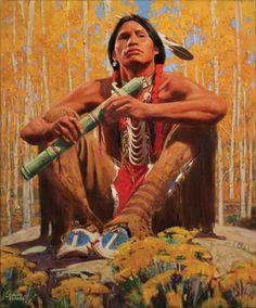 David Mann, Autumn Flute Song, oil, 24 x - Southwest Art Magazine Native American Warrior, Native American Flute, Native American Paintings, Native American Wisdom, Native American Artists, Native American Fashion, Native American History, Native American Indians, American Spirit