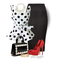 Heels outfits work polka dots 26 new ideas shoes (men Heels Outfits, Mode Outfits, Classy Outfits, Skirt Outfits, Chic Outfits, Mode Collage, Mode Jeans, Complete Outfits, Work Fashion