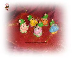 5 kleine Weihnachtsdinos zum anhängen von connys-schmuckkästchen auf DaWanda.com