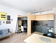 This tiny apartment of just 175 square feet (15 square meters) features some rather ingenious design ideas in order to make the most of the - limited - spa