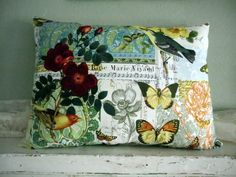 French Chansons and Birds on Vibrant Cottage Style pillow. $22.00, via Etsy.