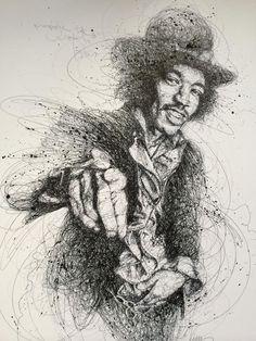 """Oeuvre by Vince Low - Célébrité """"Jimi Hendrix"""""""