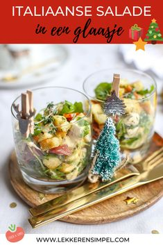 Italian salad in a glass - Isn& this salad festive? With this Christmas starter, the Christmas dinner starts right away! Xmas Food, Afternoon Snacks, High Tea, Food Inspiration, Good Food, Food And Drink, Favorite Recipes, Eat, Cooking