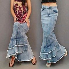 Women's Bohemia Fashion Mermaid Tassel Maxi Jeans Skirt