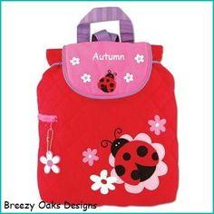 Check out Personalized Ladybug,Backpack, School Bookbag, Toddler Backpack, Diaper Bag, Childrens Monogramed Backpack,  Girl Boy Backpack,School Bag on breezyoaksdesigns