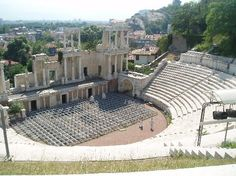 Plovdiv, Bulgaria (Amphitheater). I walked to a restaurant outside here with my friend for dinner, and we were blessed to sit and eat all while an opera was being played out...at sunset.