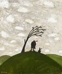 Image result for girl on hill windy day painting