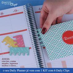 Todos os Daily Planners vem com lindo Kit de Daily Clips.   www.paperview.com.br #novidade #dailyplanner #planner #meudailyplanner