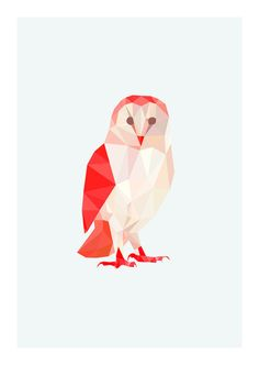 Geometric owl print by Squidink